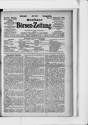 Berliner Börsen-Zeitung vom 21.09.1891