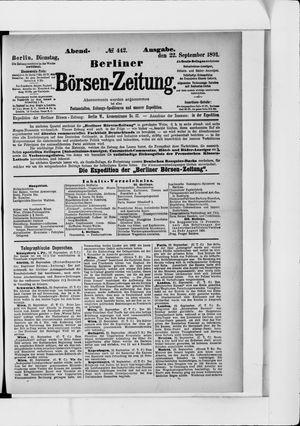 Berliner Börsen-Zeitung vom 22.09.1891