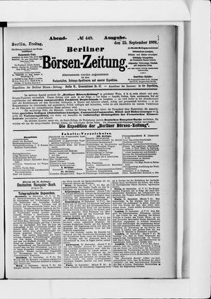 Berliner Börsen-Zeitung vom 25.09.1891