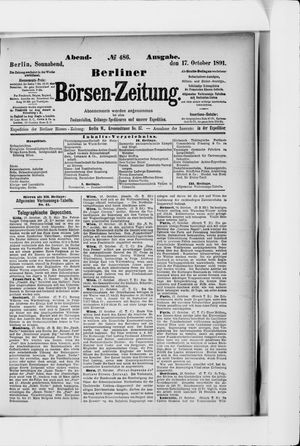 Berliner Börsen-Zeitung vom 17.10.1891