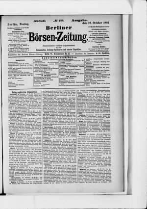 Berliner Börsen-Zeitung vom 19.10.1891
