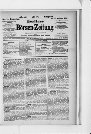 Berliner Börsen-Zeitung vom 22.10.1891