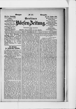 Berliner Börsen-Zeitung vom 29.10.1891