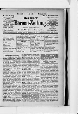Berliner Börsen-Zeitung vom 02.11.1891