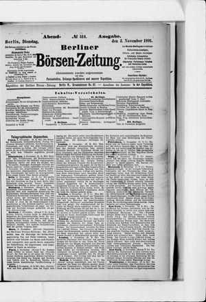 Berliner Börsen-Zeitung vom 03.11.1891