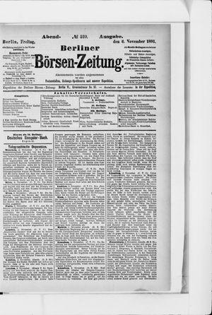 Berliner Börsen-Zeitung vom 06.11.1891