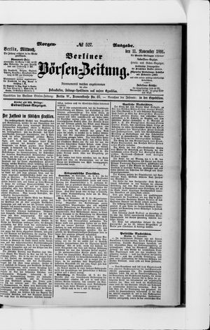 Berliner Börsen-Zeitung vom 11.11.1891