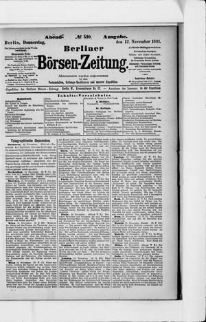 Berliner Börsen-Zeitung vom 12.11.1891