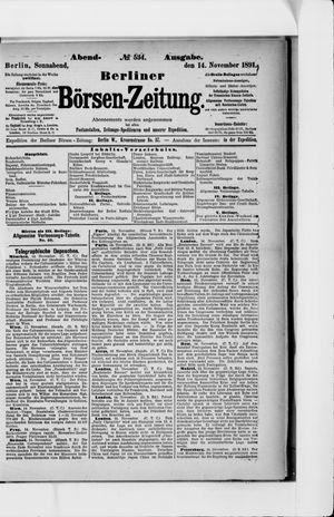 Berliner Börsen-Zeitung vom 14.11.1891