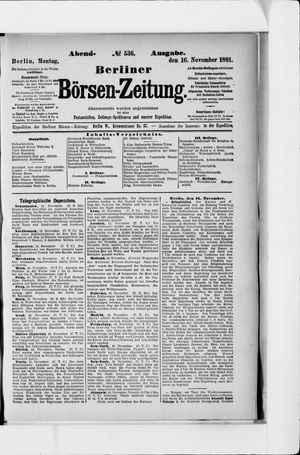 Berliner Börsen-Zeitung vom 16.11.1891