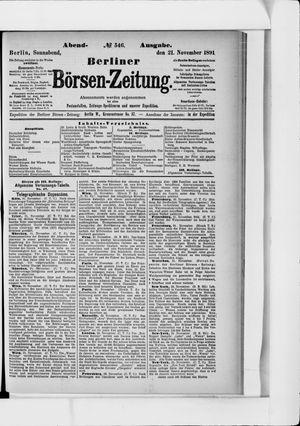 Berliner Börsen-Zeitung vom 21.11.1891