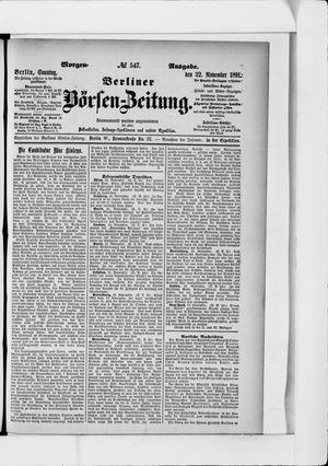 Berliner Börsen-Zeitung vom 22.11.1891
