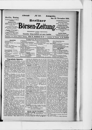 Berliner Börsen-Zeitung vom 23.11.1891