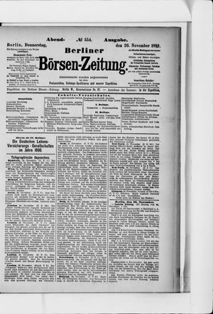 Berliner Börsen-Zeitung vom 26.11.1891