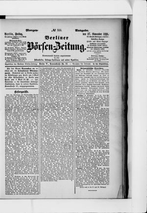 Berliner Börsen-Zeitung vom 27.11.1891