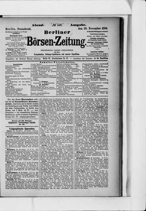 Berliner Börsen-Zeitung vom 28.11.1891