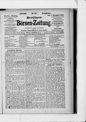 Berliner Börsen-Zeitung vom 01.12.1891