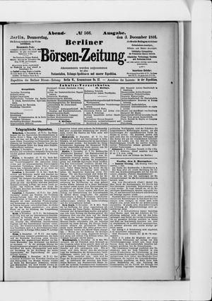 Berliner Börsen-Zeitung vom 03.12.1891