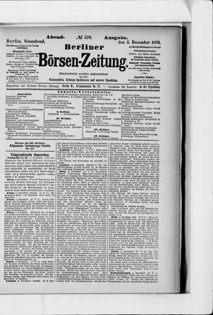 Berliner Börsen-Zeitung vom 05.12.1891