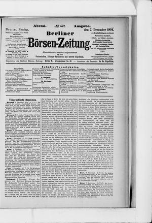 Berliner Börsen-Zeitung vom 07.12.1891