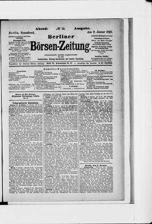 Berliner Börsen-Zeitung vom 09.01.1892