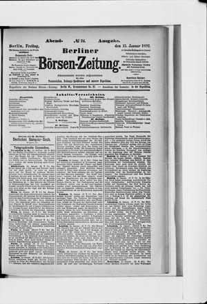 Berliner Börsen-Zeitung vom 15.01.1892
