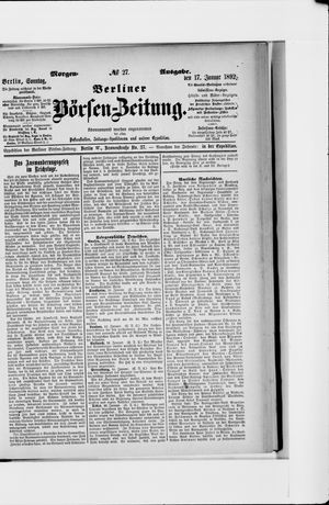 Berliner Börsen-Zeitung vom 17.01.1892