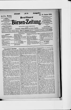 Berliner Börsen-Zeitung vom 18.01.1892