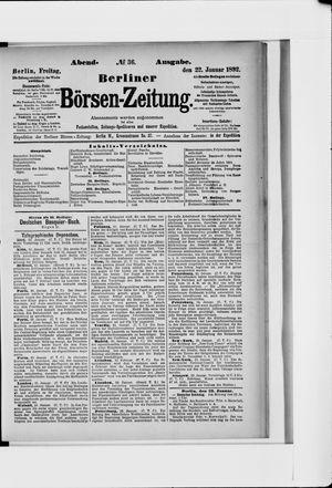 Berliner Börsen-Zeitung vom 22.01.1892