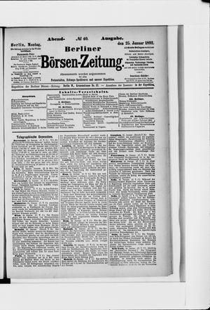 Berliner Börsen-Zeitung on Jan 25, 1892