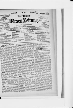 Berliner Börsen-Zeitung vom 03.02.1892
