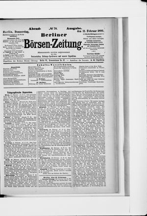Berliner Börsen-Zeitung vom 11.02.1892