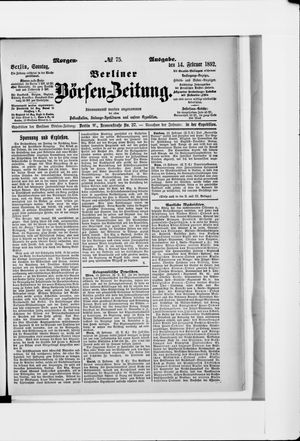 Berliner Börsen-Zeitung vom 14.02.1892