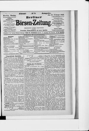 Berliner Börsen-Zeitung vom 15.02.1892