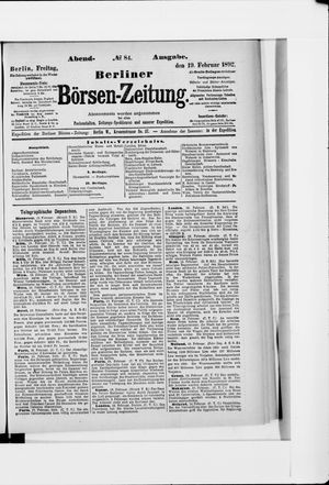 Berliner Börsen-Zeitung vom 19.02.1892