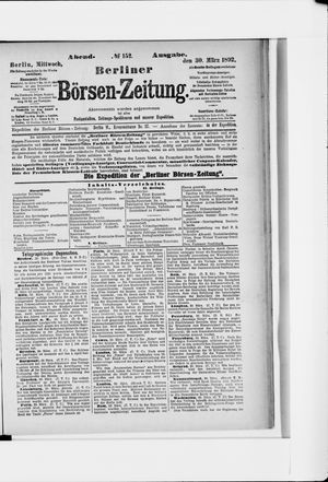 Berliner Börsen-Zeitung vom 30.03.1892