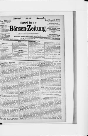 Berliner Börsen-Zeitung vom 13.04.1892