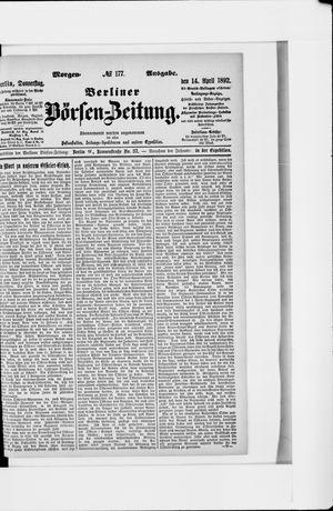 Berliner Börsen-Zeitung vom 14.04.1892