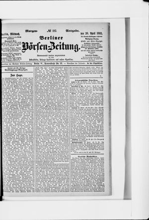 Berliner Börsen-Zeitung vom 20.04.1892