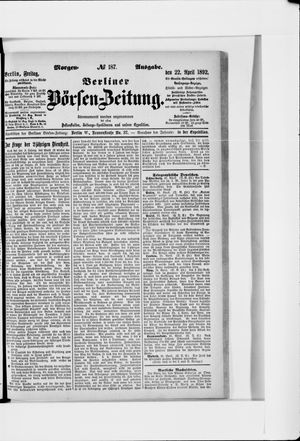 Berliner Börsen-Zeitung vom 22.04.1892