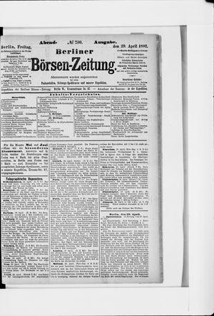 Berliner Börsen-Zeitung vom 29.04.1892