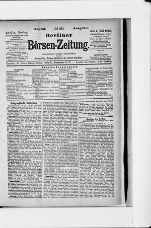Berliner Börsen-Zeitung vom 02.05.1892