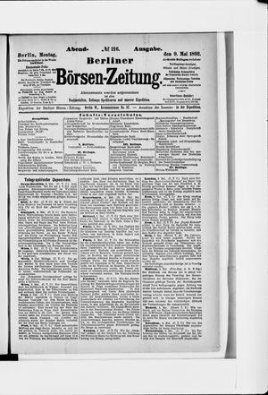 Berliner Börsen-Zeitung vom 09.05.1892