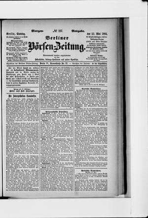 Berliner Börsen-Zeitung vom 22.05.1892