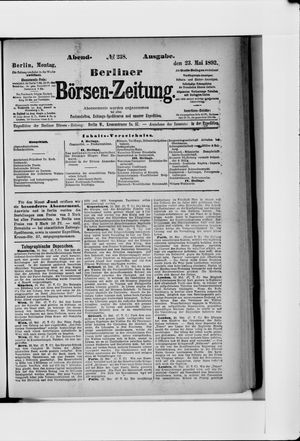 Berliner Börsen-Zeitung vom 23.05.1892