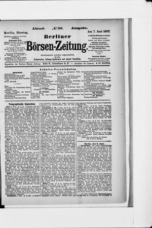 Berliner Börsen-Zeitung vom 07.06.1892