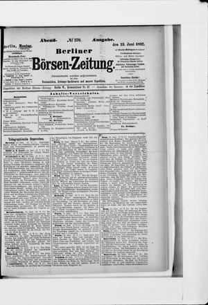 Berliner Börsen-Zeitung vom 13.06.1892