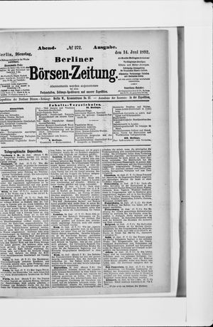 Berliner Börsen-Zeitung vom 14.06.1892