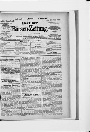 Berliner Börsen-Zeitung vom 18.06.1892