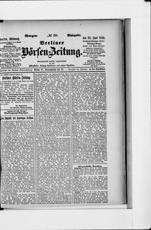 Berliner Börsen-Zeitung vom 22.06.1892
